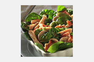 Chicken-Spinach Salad with Warm Bacon Dressing