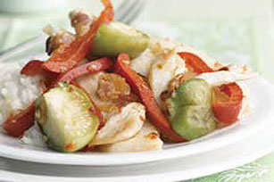 Chicken Stir-Fry with Jicama|Tomatillos and Red Peppers