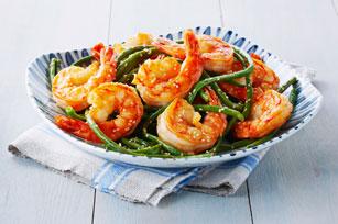 Sauté de crevettes et de haricots verts chinois  Image 1