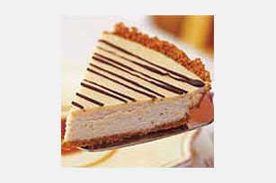 Cinnamon-Crusted Coffee Cheesecake Pie with Caramel Sauce Image 1