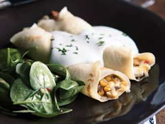 Corn and Mushroom Crepes