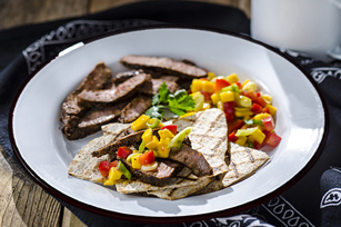 Cowboy Steak with Mango-Pepper Relish & Crisp Tortillas