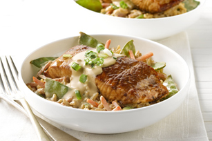 Creamy Vegetable Rice with Teriyaki Salmon Image 1