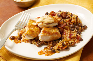 Crispy Chicken with Annatto Sauce, Rice & Pigeon Peas