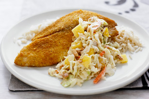 Crispy Curry Fish with Cashew-Mango Slaw