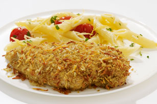 Crispy Garlic Chicken with Lemon Pasta
