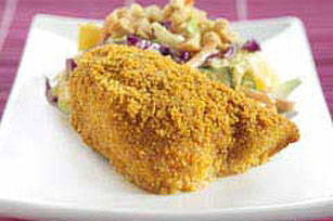 Crispy Curry Fish with Peanut-Mango Slaw