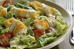 Crispy Fish Fingers with Jalapeno Ranch Salad