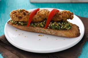 Crusted Chicken Kabobs on Olive Spread Toast Image 1
