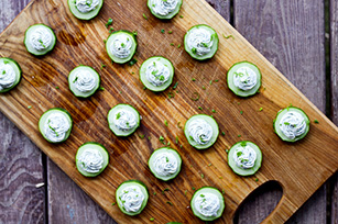 Cucumber Rounds with Herbed Cream Cheese Image 1