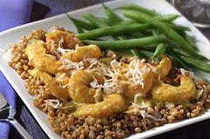 Curried Coconut Shrimp with Wheat Berries