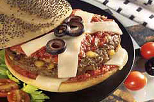Double-Cheese Pizza Burger Recipe
