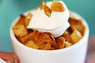Dulce de Leche Bread Pudding with Peanut Brittle Topping