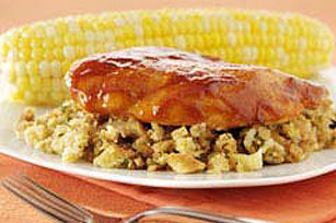 Easy BBQ Chicken with Stuffing Dinner