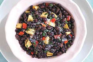 Epazote Black Bean Salad with Grilled Plantains