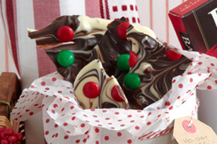 Écorce au chocolat festive