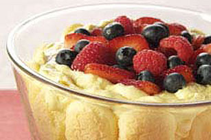 Festive Triple-Berry Pudding Dessert