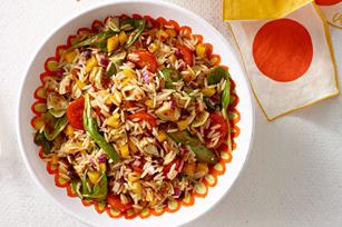 Salade d'orzo à la vinaigrette Italienne aux tomates confites