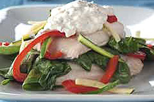 Foil-Package Fish with Horseradish Sauce