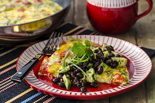 Frittata Ranchera with Black Bean & Avocado Salsa