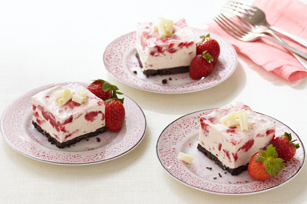 Frozen Strawberry-White Chocolate Mousse Squares