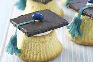 Cupcakes en forma de birretes de graduación