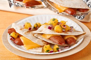 Grilled Hot Dog Quesadilla with Mango Pico de Gallo Image 1