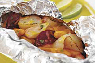 Foil-Pack Grilled Cheesy Vegetables Image 1
