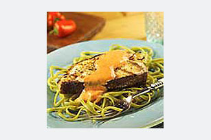 Grilled Fish Over Linguine With Roasted Pepper Sauce Image 1