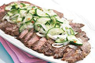 Grilled Spicy Flank Steak with Cucumber Salad