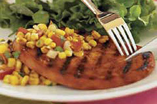 Grilled Ham Steak with Roasted Corn Relish