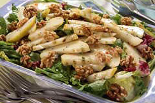 Grilled Parmesan Pear and Walnut Salad