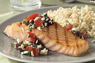 Grilled Salmon with Mediterranean Salsa