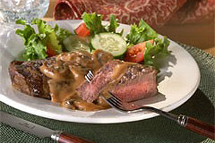 Grilled Steak with Garlic-Mushroom Sauce Image 1