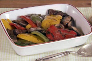Grilled Tri-Colored Pepper & Mushroom Salad