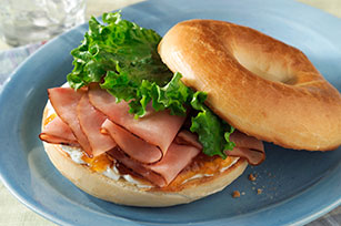 Ham and Herb Bagel Sandwich