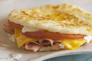 Ham, Cheese & Tomato Arepas