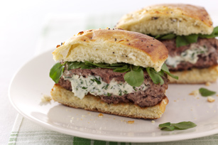 Herbed Cream Cheese-Stuffed Lamb Burgers Image 1