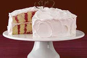 Pastel JELL-O con cobertura y vetas de fresa Image 1