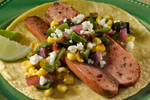 Jalapeño Dogs with Roasted Corn & Poblano Topping Image 1