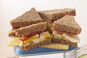 Layered Bacon and Egg Salad Sandwich