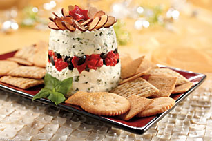 Layered Basil-Roasted Red Pepper Spread