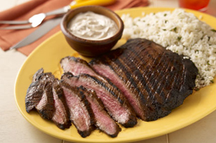 Marinated Steak with Sour Cream-Jalapeno Sauce Image 1