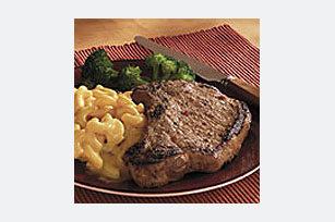 Marinated Dijon Pork Chops with Mac & Cheese Dinner
