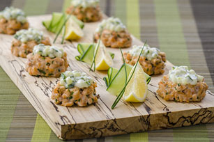 Mini Salmon Cakes with Cucumber Aioli