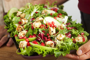 Mixed Green Salad with Warm Cream Cheese