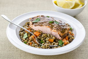 Moroccan-Spiced Salmon with Lentil & Carrot Ragoût
