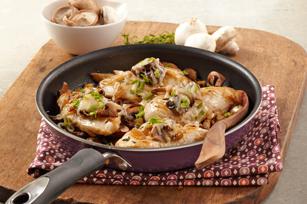 Poêlée de poulet aux champignons façon bruschetta