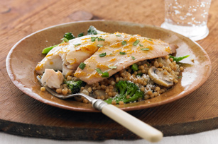 Mustard-Apricot Tilapia with Couscous