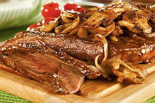 New York Style Steak with Mushroom Saute